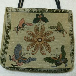 Vintage Embroidery Floral Butterflies Tote Bag